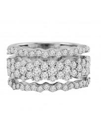 1.50cttw Multi Row Round Diamond 14k White Gold Large Band Ring