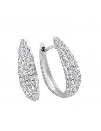 3/4ct Pave Lab Grown Diamond 14k White Gold Huggie Earrings