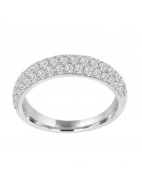 1.00ct Pave Lab Grown Diamond 14k White Gold Dome Wedding Band Ring