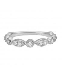 1/4ct Diamond 14k White Gold Marquise & Dot Stackable Milgrain Band Ring