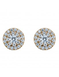 0.70ct Round Diamond 14k Yellow Gold Jacket Round Halo Stud Earrings