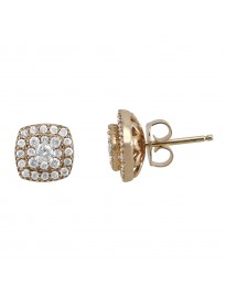 Natural Diamond Halo Stud Earrings with Jacket 0.70 CTW 14K Yellow Gold Square