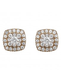 0.70ct Diamond 14K Yellow Gold Square Jacket Halo Stud Earrings