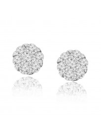 0.50ct Natural Round Diamond 10k Yellow Gold 1/2ct Cluster Flower Stud Earrings