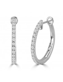 1/2ct Round Diamond 14k White Gold Prong-Set Hinged Hoop/Huggie Earrings