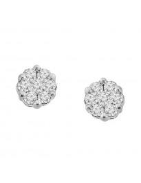 Natural Diamond Cluster Flower Stud Earrings 10k white Gold 0.25 CTW