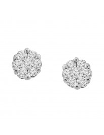 Natural Diamond Cluster Flower Stud Earrings 10k Yellow Gold 0.25 CTW