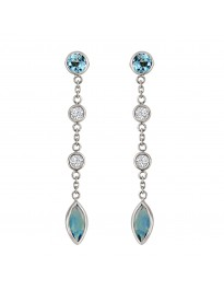 2.25ct Bezel Diamond & Marquise Blue Topaz 14k White Gold Dangle Earrings