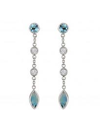 2.25ct Bezel Diamond & Marquise Blue Topaz 14k White Gold Dangle Earrings