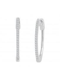 Diamond Oval Hoop Earrings with Patented Lock 0.15 Carats 14k White Gold