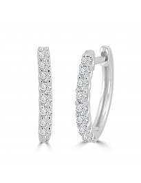 1/4ct Round Diamond 14k White Gold 0.25ct Mini Huggie Earrings