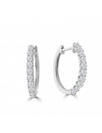 1/2ct Round Diamond 14k White Gold 0.50ct Prong Set Huggie Earrings