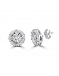 1/2ct Round Diamond 14k White Gold 0.50ct Halo Cluster Stud Earrings