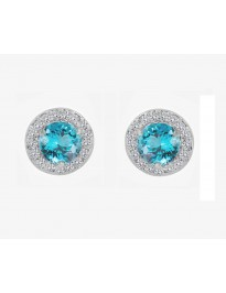 0.40ct Round Blue Topaz & Pave Diamond 14k White Gold Mini Halo Stud Earrings