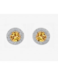0.40ct Round Citrine & Pave Diamond 14k White Gold Mini Halo Stud Earrings