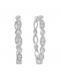 0.15ct Diamond 14k White Gold Marquise and Dot Milgrain Oval Hoop Earrings