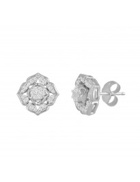 1/4ct Round Cut Diamond 10k White/Yellow Gold Cluster Flower Stud Earrings