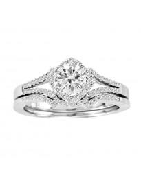 1/2ct Square Halo Diamond 14k White Gold Bridal Engagement & Wedding Rings Set