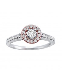 0.50ct Round Natural Diamond 14k Two Tone Gold Halo Solitaire Engagement Ring