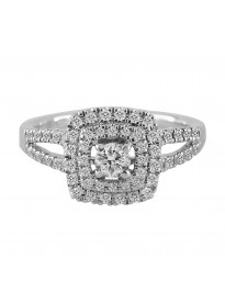 0.50Ct Double Square Halo Round Diamond 14k White Gold Engagement Ring