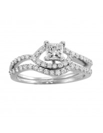 Princess and Round Diamond Engagement Wedding Bridal Set Rings 14K Gold 0.72 CTW