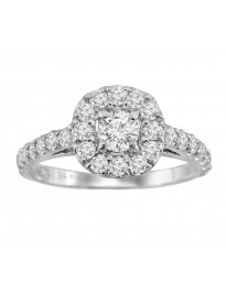 1.00ct Round Diamond 14k White Gold Solitaire with Accents Halo Engagement Ring