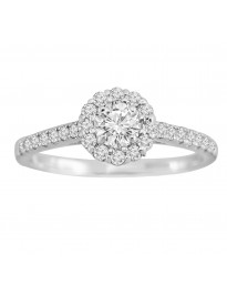1/2ct Round Diamond 14k White Gold Solitaire Halo Engagement Ring