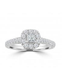 1.00ct Round & Princess Diamond 14k White Gold Square Halo Engagement Ring