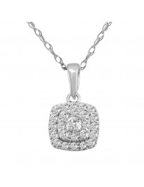 0.35Ct Pave Set Round Diamond 14K White Gold Square Pendant Necklace