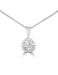 1/2ct Round Diamond 14k White Gold Tension Set Solitaire Pendant Necklace