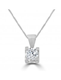 1/2ct Round Natural Diamond 14K White Gold Solitaire Pendant Necklace