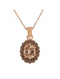 1.33ct Oval Morganite & Brown Diamond 14k Rose Gold Halo Pendant Necklace