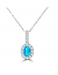 0.80ct Blue Topaz & Diamond 14k White Gold Halo Oval Pendant Necklace