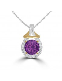 1.60ct Round Amethyst & Diamond 14k Two Tone Gold Halo Pendant Necklace