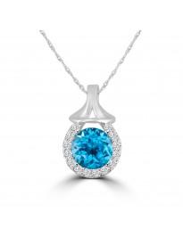 1.80ct Round Blue Topaz & Diamond 14k White Gold Halo Pendant Necklace