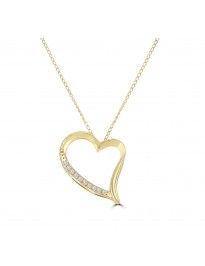 1/10ct Accent Diamond 14k White/Yellow Gold Open Heart Pendant Necklace