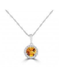 0.60ct Diamond & Topaz/Amethyst/Garnet/Citrine 14k Gold Halo Pendant Necklace