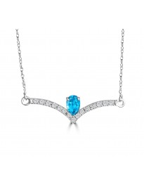 3/4ct Pear Blue Topaz & Diamond 14k White Gold Chevron Pendant Necklace