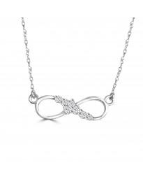 0.15ct Round Diamond 14k White Gold Infinity Twist Pendant Necklace