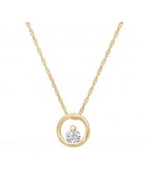 1/10ct Round Diamond 14k White/Yellow/Rose Gold Open Circle Pendant Necklace