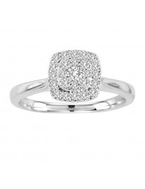 0.35ct Pave Set Diamond 14k White Gold Double Halo Solitaire Square Ring