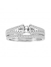 0.42ct Diamond 14K White Gold Engagement Setting & Wedding Band Bridal Set Rings
