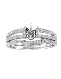 Diamond 14K White Gold Engagement Setting & Wedding Bridal Set Ring