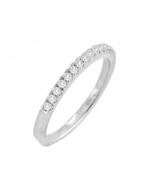 1/4ct Diamond 14k Solid White Gold Half Eternity Wedding Band Anniversary Ring