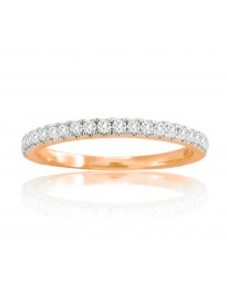 14k Solid Rose Gold 1/4ct Round Diamond Half Eternity Wedding Band Ring