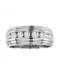 9mm Men's Wedding Anniversary Channel Set 1/2ct Diamond  Band Ring