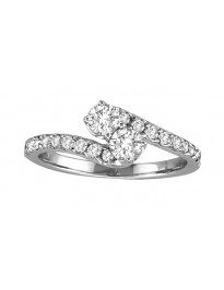 Forever Us Two Stone 0.75ct Round Diamond 14k White Gold Solitaire Ring