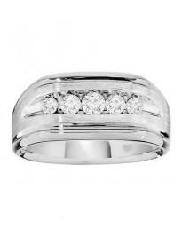 10.5mm Men's Wedding Anniversary Channel Set 1/2ct Diamond 14k Gold Band Ring