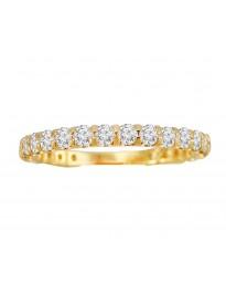 14k Yellow Gold 1.00ct Round Diamond Almost Eternity Wedding Band Ring