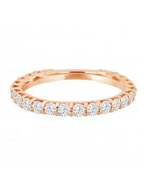 1.00ct Round Cut Diamond 14k Rose Gold Eternity Wedding Band Ring